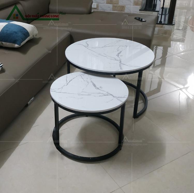 bàn sofa đôi tròn mặt đá