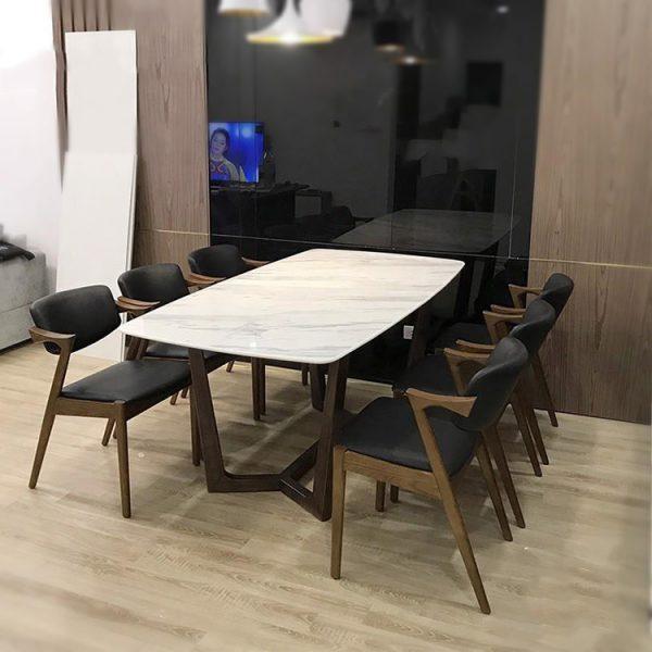 bàn ăn mặt đá 6 ghế đẹp