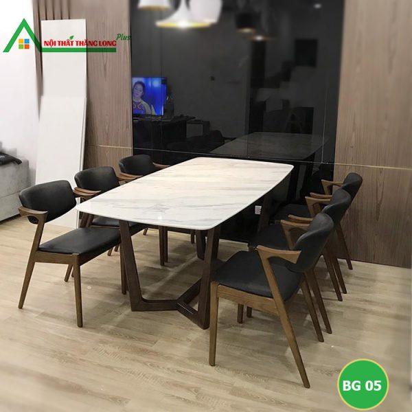 bộ bàn ăn 6 ghế kiểu dang hiện đại bọc da theo yêu cầu