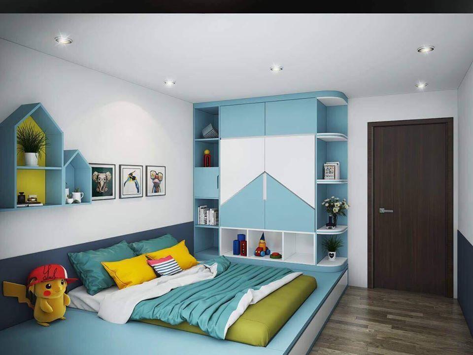 Nội thất phòng ngủ gam màu xanh thể hiện sự tươi mới