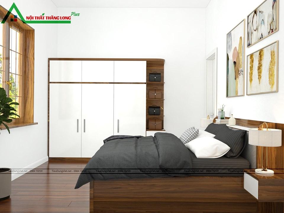 Phòng ngủ với toàn bộ nội thất gỗ công nghiệp cao cấp