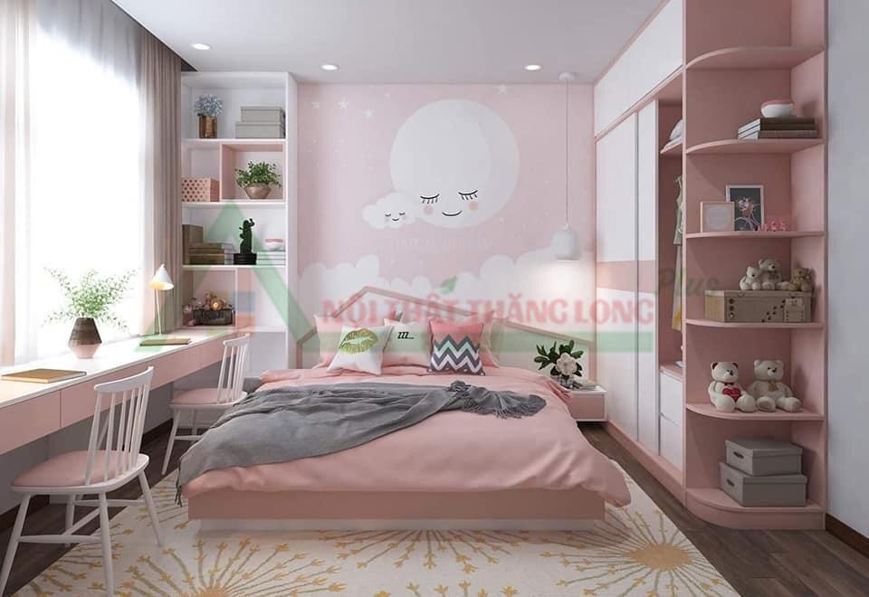 Nội thất phòng ngủ gam hồng dễ thương dành cho bé