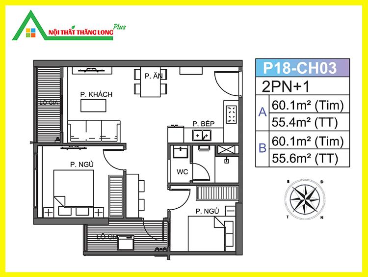 Thiết kế nội thất chung cư căn hộ 2 phòng ngủ Vinhomes Ocean Park