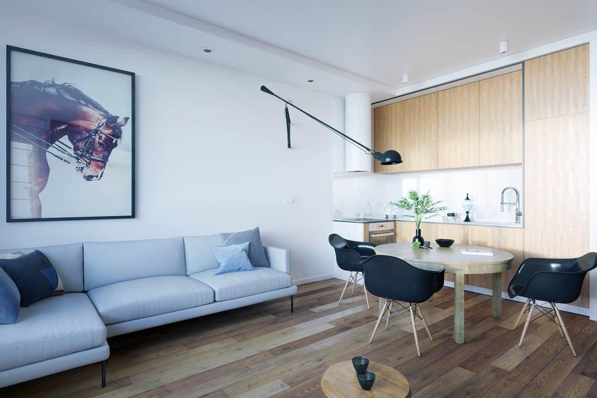 Thiết kế bàn ăn và phòng khách liền kề với nhau