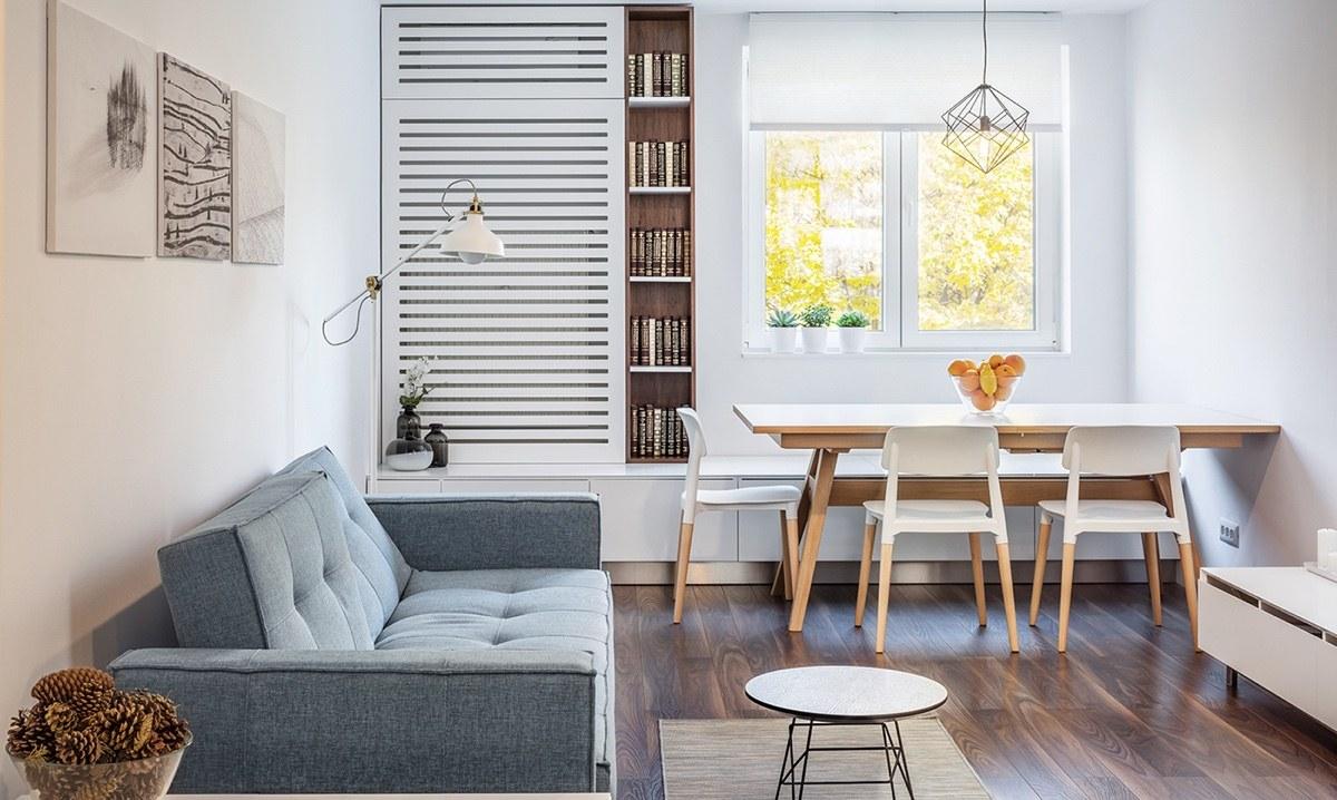 Thiết kế bàn ăn và phòng khách cạnh nhau