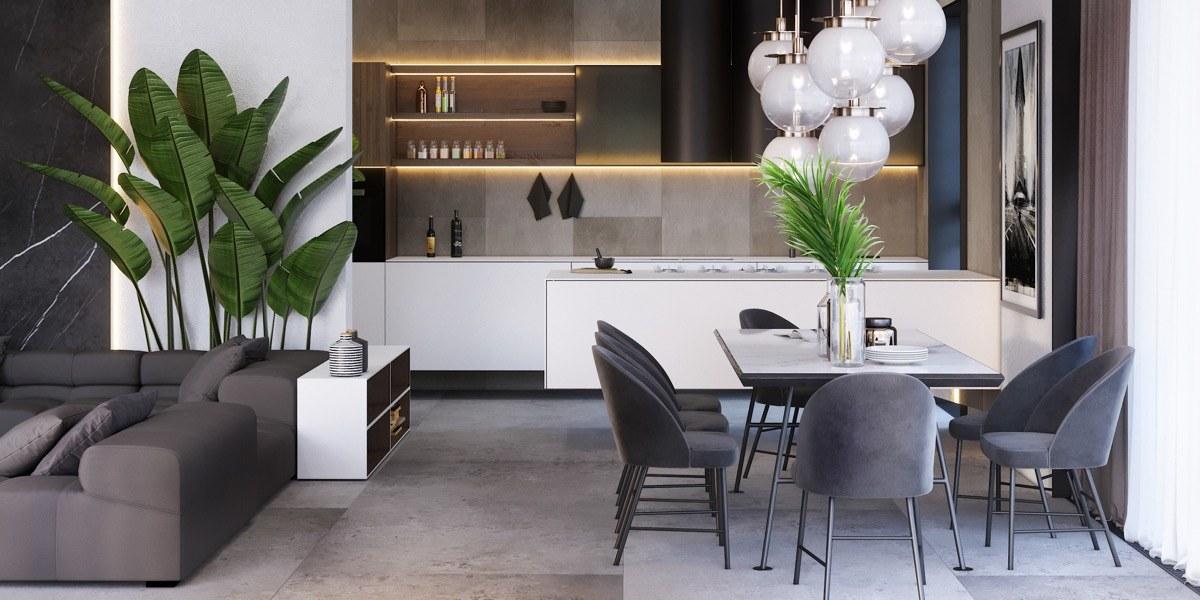 Thiết kế bàn ăn liền kề với phòng khách