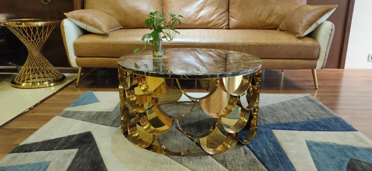 Bàn trà mặt đá mạ titan vàng