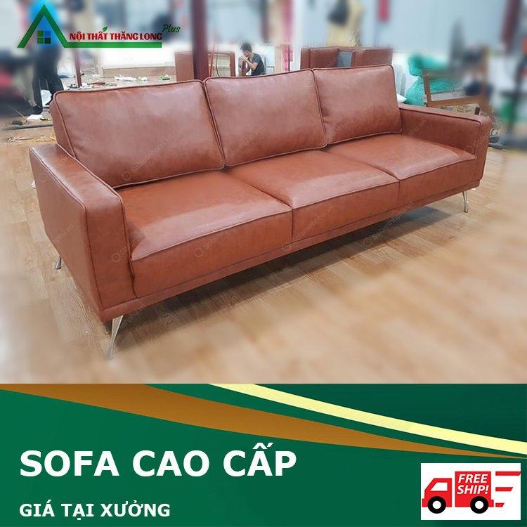 Ghế sofa bọc da màu nâu
