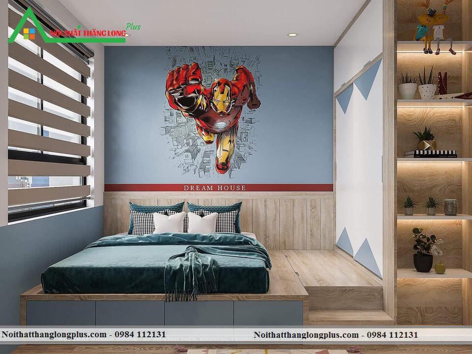 Nội thất phòng ngủ dành cho bé trai với thiết kế giản dị