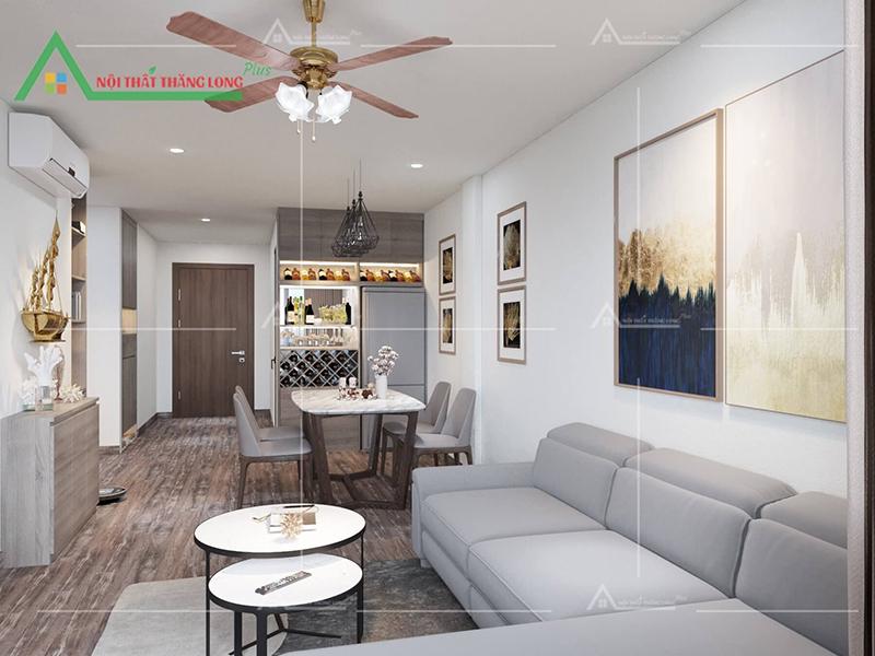 Không gian bao quát của phòng khách và phòng ăn