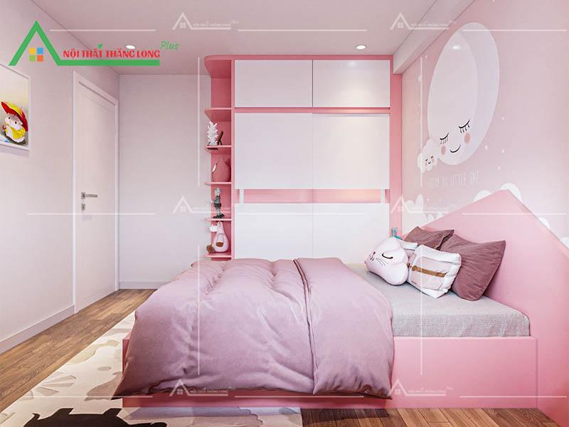 Thiết kế thi công nội thất chung cư phòng ngủ cho con gái
