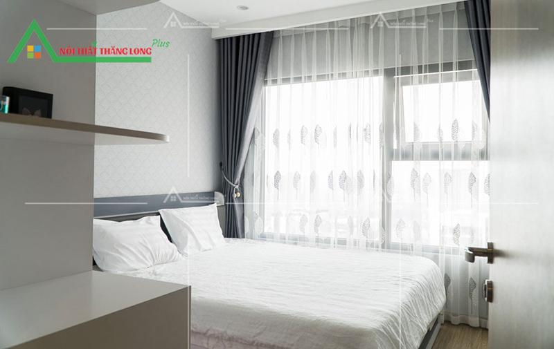 Phòng ngủ với gam màu trắng chủ đạo thể hiện sự thuần khiết