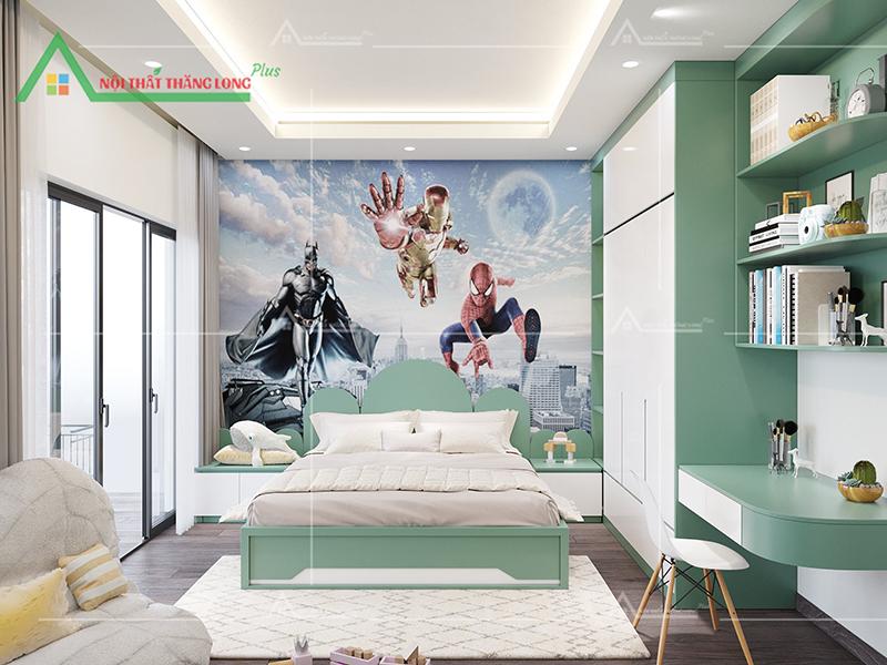 Không gian dành cho bé trai với tranh dán tường siêu nhân