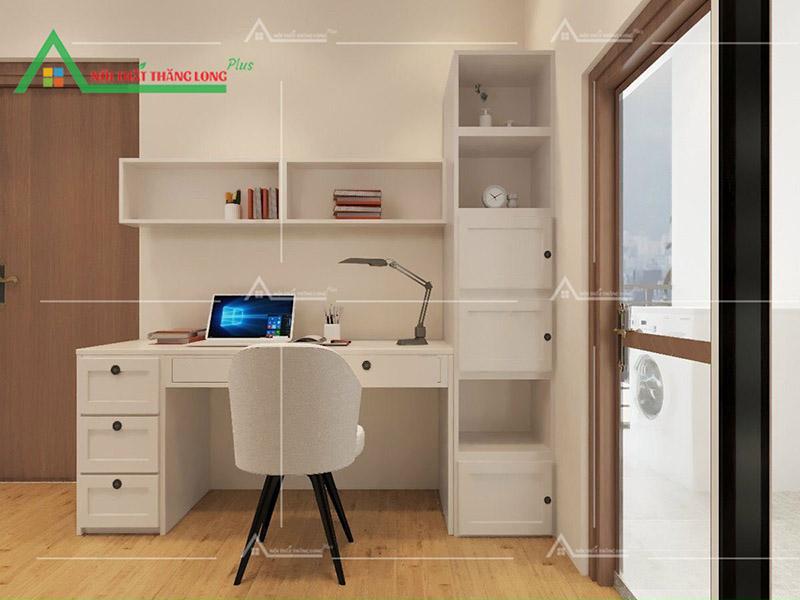 Bộ bàn ghế làm việc với tông màu trắng cực tiện lợi
