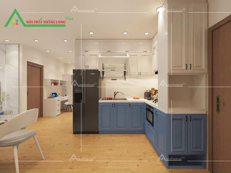 Tủ bếp chữ L rộng rãi cho việc để dụng cụ bếp